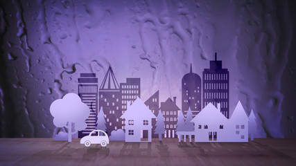 Eco City on Abstract Water Background