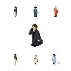 Isometric Person Set Of Seaman, Cleaner, Officer And Other Vector Objects. Also Includes Sailor, Teacher, Police Elements.