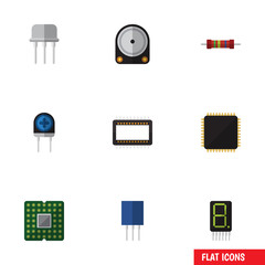 Flat Icon Device Set Of Transducer, Mainframe, Unit And Other Vector Objects. Also Includes Hard, Resistance, Microprocessor Elements.