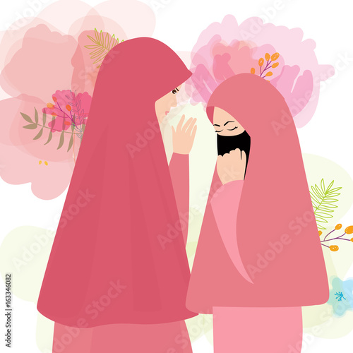 Friends Wear Veil Scarf Islam Cover Face Two Woman Girl