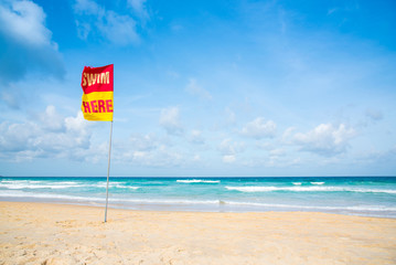 Safety zone for swimming at the sea. seascape, Phuket, Thailand.