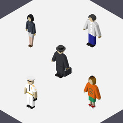 Isometric Human Set Of Girl, Lady, Detective And Other Vector Objects. Also Includes Seaman, Police, Woman Elements.