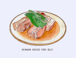 Pork belly dish Okinawan cuisine , hand drawn water color sketch vector.