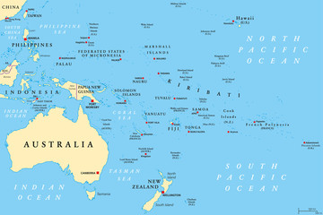 Oceania political map. Region, centered on central Pacific Ocean islands. With Melanesia, Micronesia and Polynesia, including Australasia and Malay Archipelago. Illustration. English labeling. Vector.