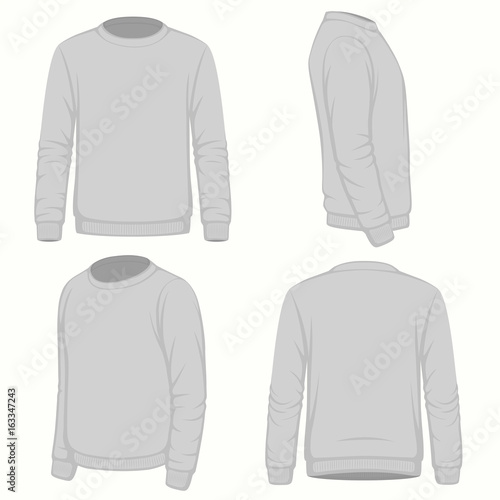 Front, back and side views of blank hoodie sweatshirt. Isolated on ...