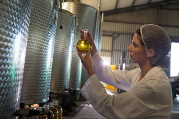 Female technician examining olive oil