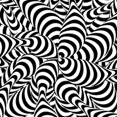 Abstract Striped Background. Spiral Vortex Phenomenon. Black And White Hypnosis, Rays. Optical Art Illustration