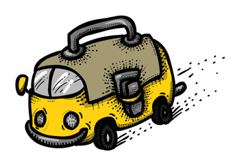 Cartoon image of Back to school concept. School bus. An artistic freehand picture.