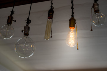 vintage lamp hanging from ceiling