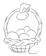 Cartoon image of Basket with Easter eggs Icon. Easter symbol. An artistic freehand picture.