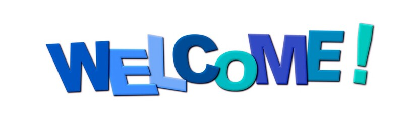 Welcome Letters Icon, blue