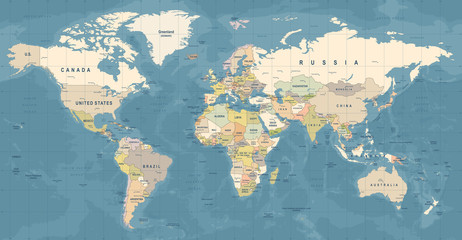 Stores à enrouleur Carte du monde World Map Vector. Detailed illustration of worldmap