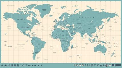 Spoed Foto op Canvas Wereldkaart World Map Vector Vintage. Detailed illustration of worldmap