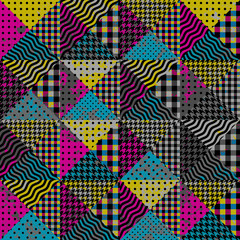 Seamless background pattern. Geometric patchwork pattern of a triangles.