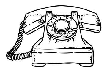 Cartoon image of Phone Icon. Telephone symbol. An artistic freehand picture.