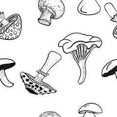 Vector mushrooms seamless pattern background, black drawing.