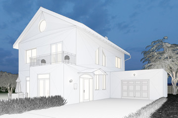 CAD-Modell von Haus abends