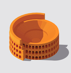 Vector isometric Colosseum. Antient Rome building illustration. Gaming and infographic design.