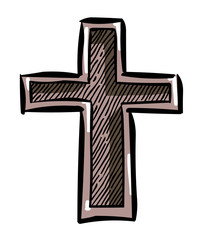 Cartoon image of Religion Cross Icon in flat style. An artistic freehand picture.