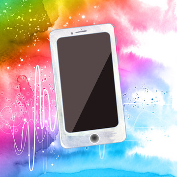 smart phone on colorful watercolor background