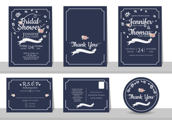 Set of Navy Blue Wedding invitation card minimalist style. Bridal shower card. RSVP card. Thank you sticker.Front and Back template. for sweet couple concept .Vector/Illustration