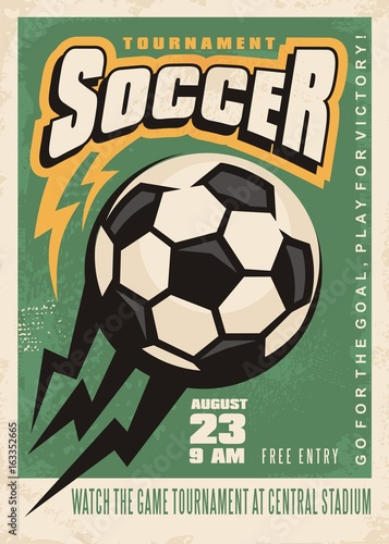 Soccer Tournament Vector Poster Template With Soccer Ball And