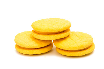 Yellow double fruit biscuits isolated
