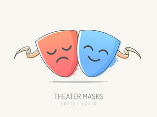 Comedy and tragedy theater masks. Vector illustration in sketchy line art style.