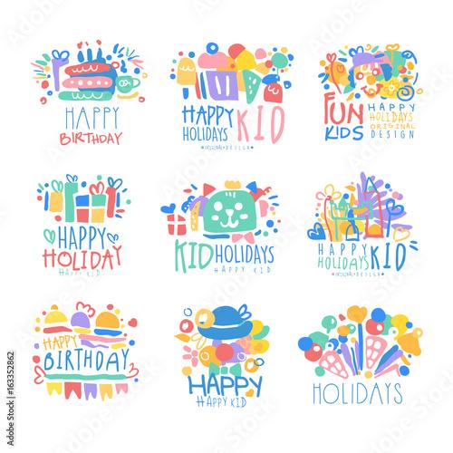 kid holidays happy birthday logo template original design set