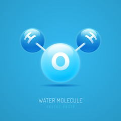 Water molecule H2O structure vector illustration