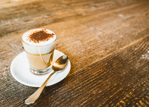 Marocchino (Caffè Marocchino) is a coffee drink served in a small glass and consists of a shot of espresso, milk and cacao powder
