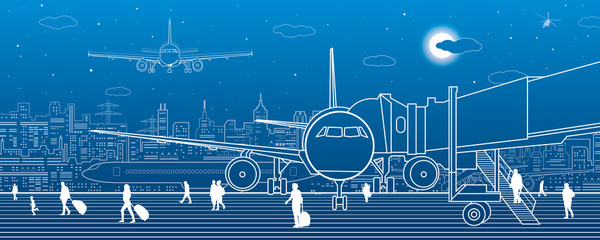 Fotomurales - Airport scene. The plane is on the runway. Aviation transportation infrastructure. Airplane fly, people get on the plane. Night city on background, vector design art