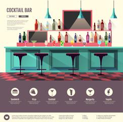 Flat style interior of cocktail bar. Web site design. Cocktail menu