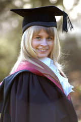 Graduate in cap and gown, Wessex Institute of Technology, Ashurst Lodge,UK