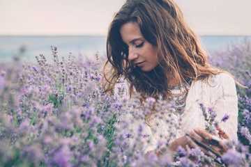 Boho styled model in lavender field Wall mural