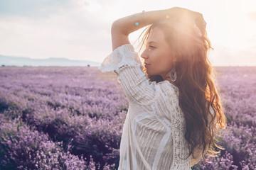 Boho styled model in lavender field