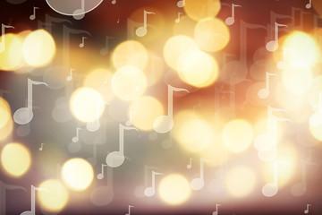 Golden Christmas lights background, blurred, close up