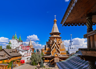 Wooden church in Izmailovo Kremlin - Moscow Russian