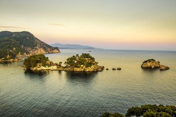 Parga Greece - sunset - View from the fortress