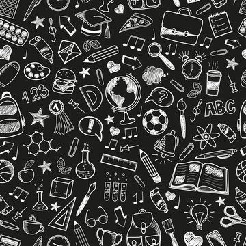 Seamless Back to School pattern with various hand-drawn school items on a dark background blackboard. Vector illustration,eps 10.