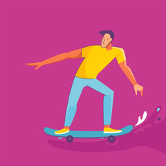 Vector summer illustration in modern trendy flat linear style - happy guy skateboarding