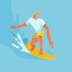 Vector summer illustration in modern trendy flat linear style - happy guy surfing