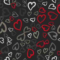 Red and gray hearts seamless vector tile. Valentines day background. Flat design endless chaotic texture made of tiny heart silhouettes