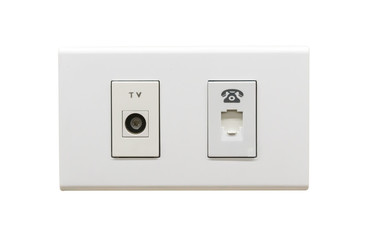 White TV cable connection and telephone wall outlet