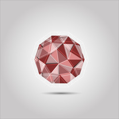 Red polygon sphere shape vector icon