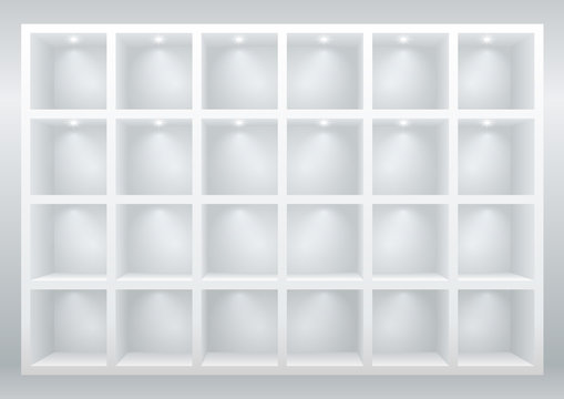 White cell furniture or display cases for goods, shelves for goods or library