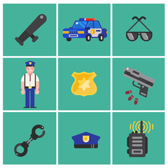 Trendy flat Policeman icons. Set of Policeman icons. Policeman elements for info graphic. Vector illustration