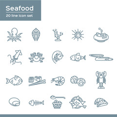 Set of Sea Food Related Vector Icons, flat style with thin line art seafood icons on white background.