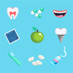 Dental care symbols. Teeth dental care mouth health set with inspection dentist treatment.