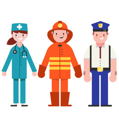 Set of people icons in flat style policeman, fireman, doctor. Emergency service. people different professions.